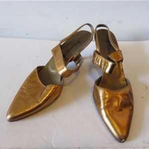 YVES SAINT LAURENT GOLD LEATHER SHOES 7 1/2
